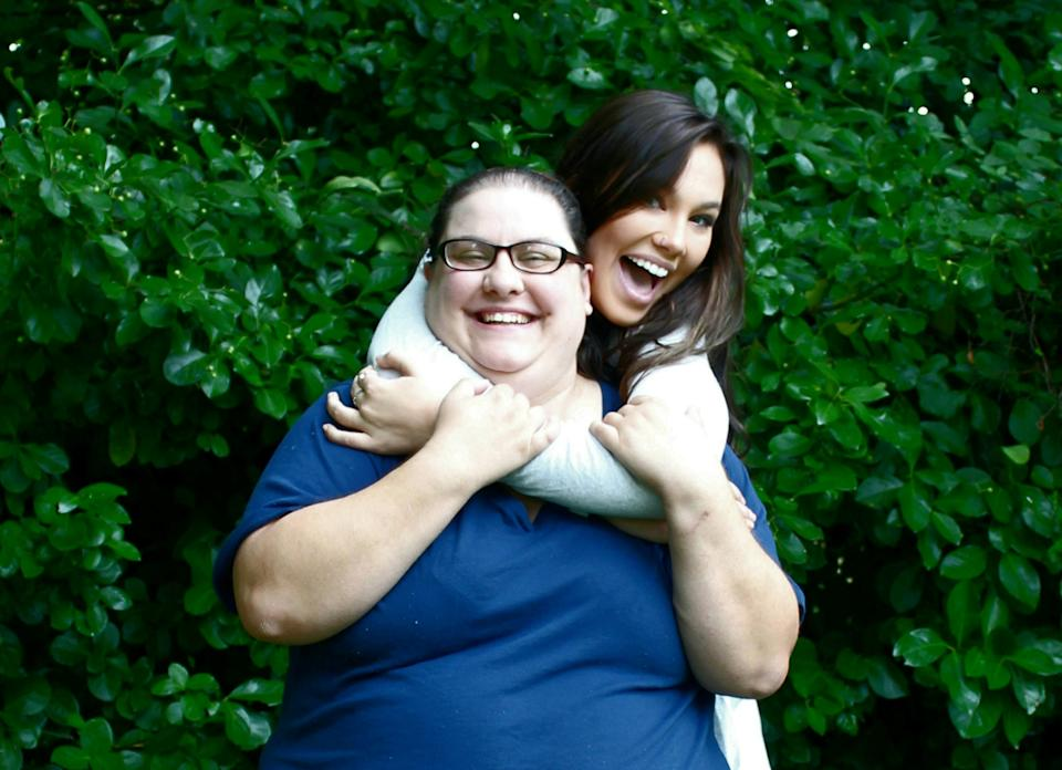 Akyra Holstein and her adopted mum Katie. (SWNS)