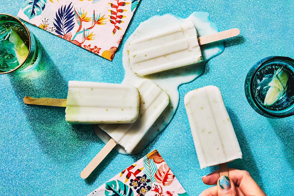 """These refreshing pops blend two kinds of coconut for an extra rich, creamy flavor, and lime zest lends a lovely floral note. <a href=""""https://www.epicurious.com/recipes/food/views/3-ingredient-creamy-coconut-lime-ice-pops?mbid=synd_yahoo_rss"""" rel=""""nofollow noopener"""" target=""""_blank"""" data-ylk=""""slk:See recipe."""" class=""""link rapid-noclick-resp"""">See recipe.</a>"""