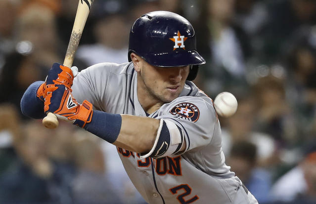Houston Astros' Alex Bregman is hit by a pitch from Detroit Tigers pitcher Louis Coleman in the seventh inning of a baseball game in Detroit, Tuesday, Sept. 11, 2018. (AP Photo/Paul Sancya)