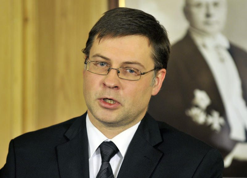 Latvia's Prime Minister Valdis Dombrovskis speaks at a press conference in Riga, Latvia, Wednesday, Nov. 27, 2013. Latvia's prime minister resigned Wednesday, after accepting political responsibility for the collapse of a supermarket roof in the capital that killed 54 people and wounded at least 40 others. (AP Photo/Roman Koksarov)