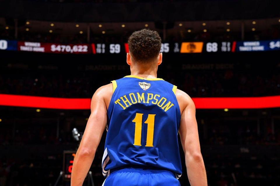 Klay Thompson suffered a hamstring injury in the fourth quarter of Game 2. (Getty Images)