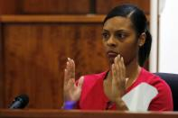 Shaneah Jenkins testifies at the murder trial of former New England Patriots tight end Aaron Hernandez at Bristol County Superior Court in Fall River, Massachusetts February 4, 2015. Hernandez is accused of the murder of Jenkins' boyfriend Odin Lloyd. REUTERS/Brian Snyder (UNITED STATES - Tags: CRIME LAW SPORT FOOTBALL)