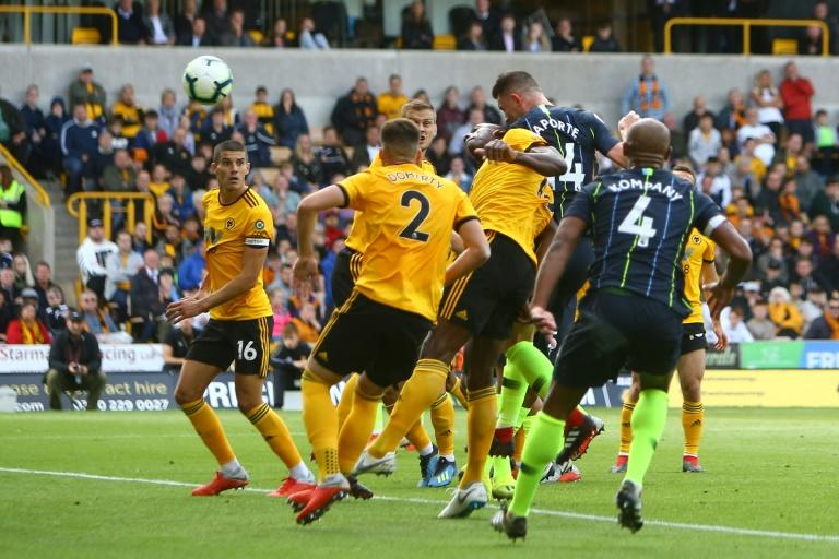 Manchester City defender Aymeric Laporte scores the equaliser in a 1-1 draw against Wolverhampton Wanderers