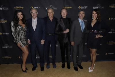 Parrot Analytics' Global TV Demand Awards host and presenters. Pictured from left to right are: Hailie Sahar, Jerry Springer, Martin Kove, Carson Kressley (host), Esai Morales, and Emily Swallow. Photo credit: John Parra/Getty Images