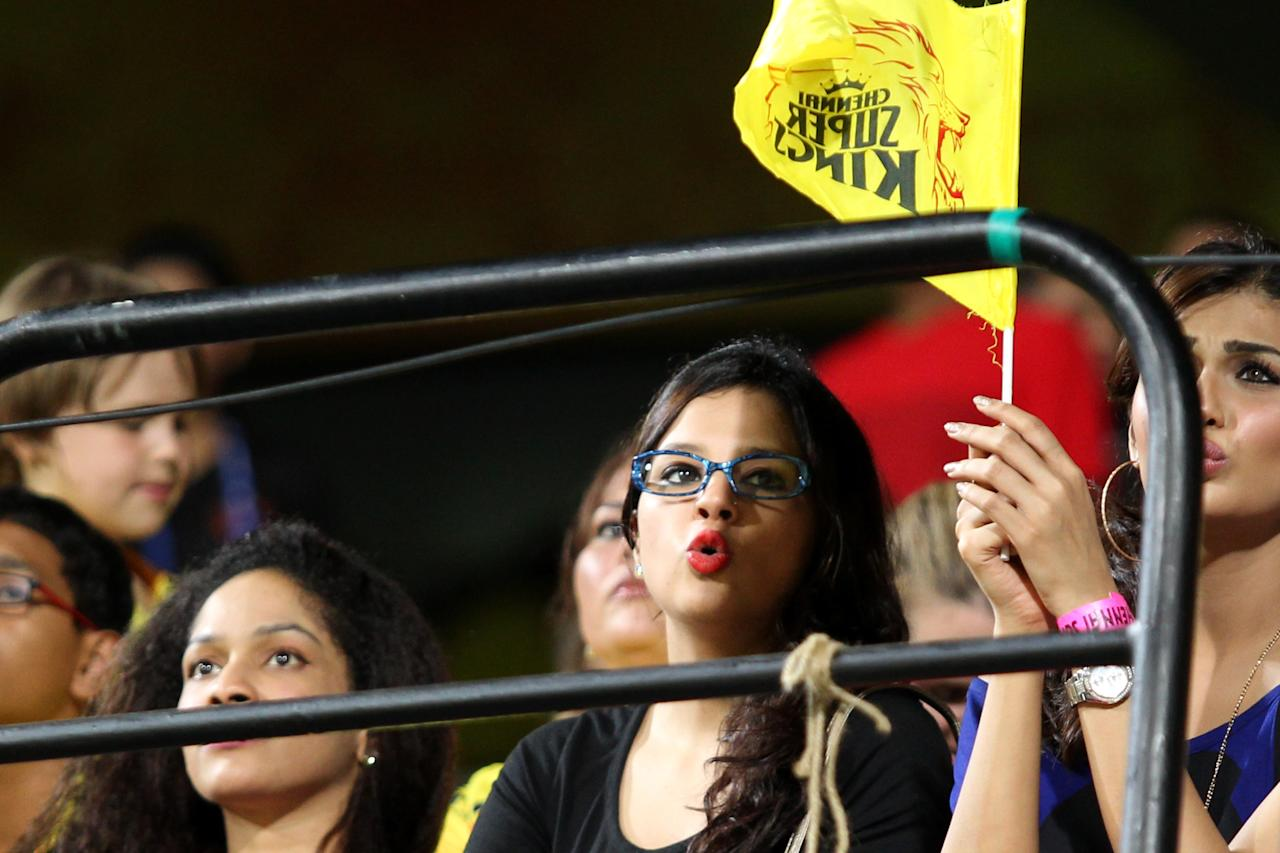Sakshi Dhoni dons the geek look against Chennai's clash with the Royal Challengers Bangalore held at the MA Chidambaram Stadiumin Chennai on the 13th April 2013. Photo by Prashant Bhoot-IPL-SPORTZPICS