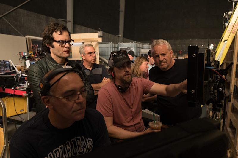 "BILL HADER (l-standing), director ANDY MUSCHIETTI (center) and director of photography Checcco Varese (r-standing) on the set of New Line Cinema's horror thriller ""IT CHAPTER TWO,"" a Warner Bros. Pictures release."