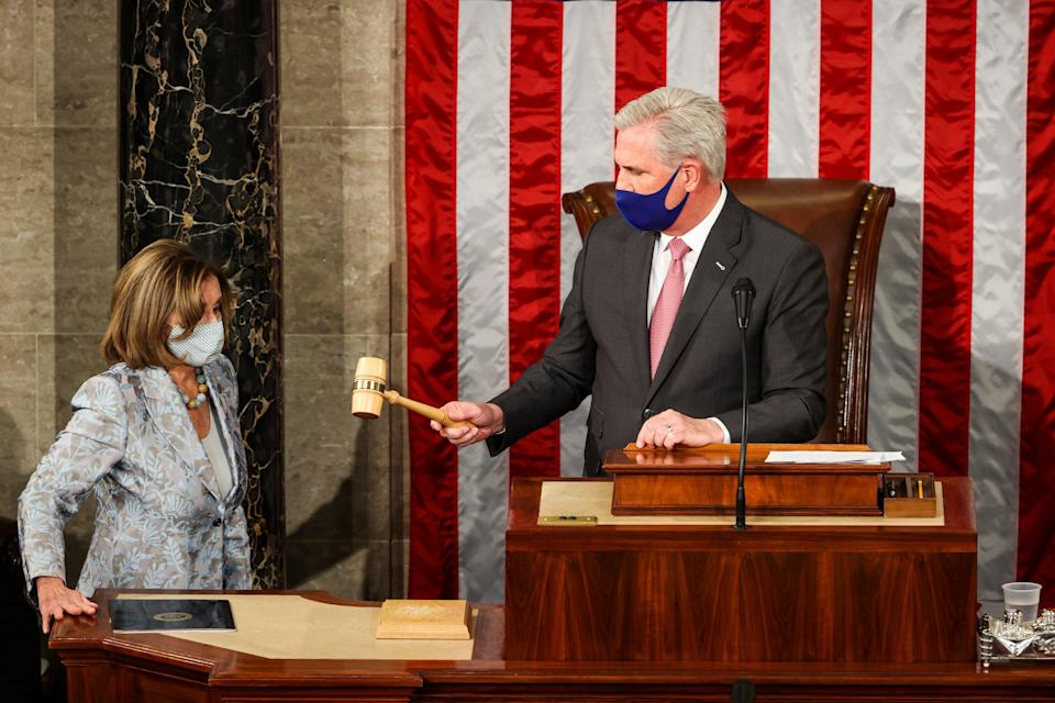 Kevin McCarthy is under fire after joking about hitting Nancy Pelosi with a gavel at a recent event in Tennessee. (POOL/AFP via Getty Images)