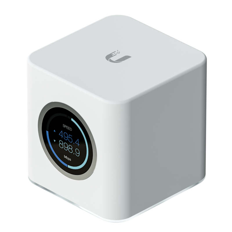 A white box AmpliFi router by Ubiquiti.