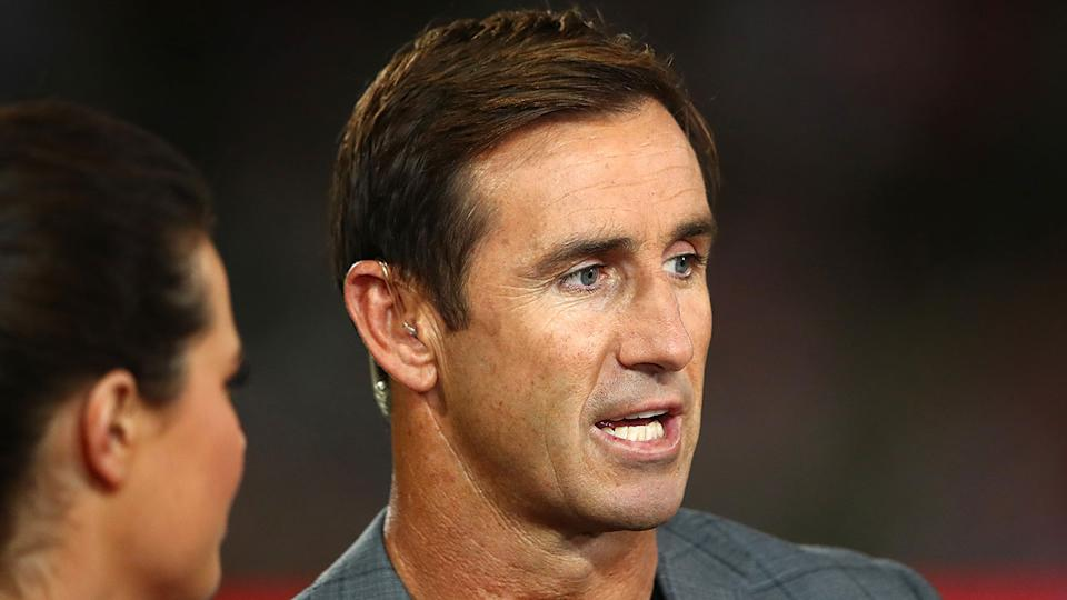 Andrew Johns is seen here on Channel Nine's league broadcast.