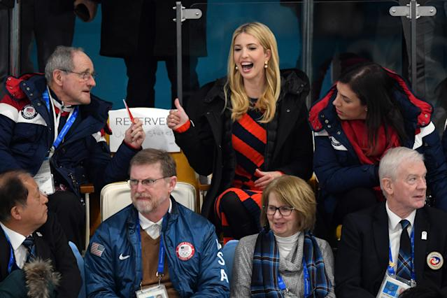 <p>Ivanka Trump (red and black dress) gives a thumbs up gesture as she watches the Men's Gold Medal Curling match between Sweden and United States of America at Gangneung Curling Centre on February 24, 2018 in Gangneung, South Korea. Ivanka Trump is on a four-day visit to South Korea to attend the closing ceremony of the PyeongChang Winter Olympics. (Photo by Carl Court/Getty Images) </p>