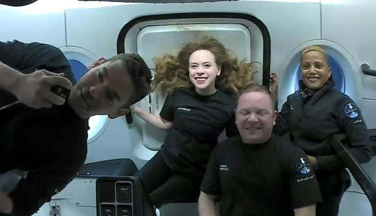 The Inspiration4 crew -- (L-R) Jared Isaacman, Hayley Arceneaux, Christopher Sembroski and Sian Proctor -- are seen in a September 16, 2021 image (AFP/Handout)