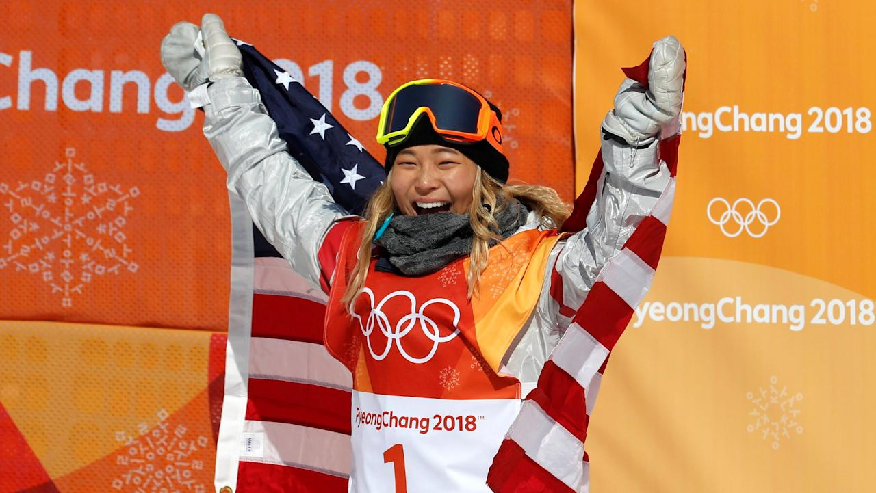 """<p>Gold:$37,500 USD<br />Silver: $22,500 USD<br />Bronze: $15,000 USD <br />Chloe Kim is the <a rel=""""nofollow"""" href=""""http://www.espn.com/olympics/story/_/id/22415338/chloe-kim-fulfills-golden-destiny-halfpipe-baby-girl-full-fledged-dragon"""">youngest woman</a> to win gold in Olympic snowboarding and made history at the Pyeongchang Winter Games.<br />(Jorge Silva/Reuters) </p>"""