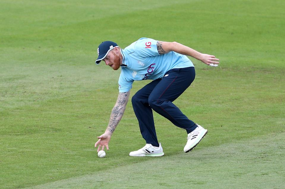 England's Ben Stokes claims the ball (PA Wire)