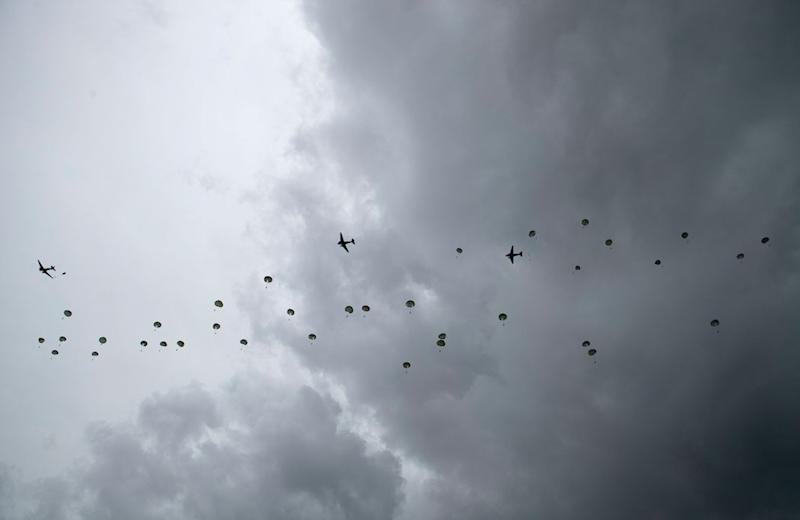 The Commemorative Parachute Descent took place over Sannerville, France, during commemorations for the 75th anniversary of the D-Day landings (PA)