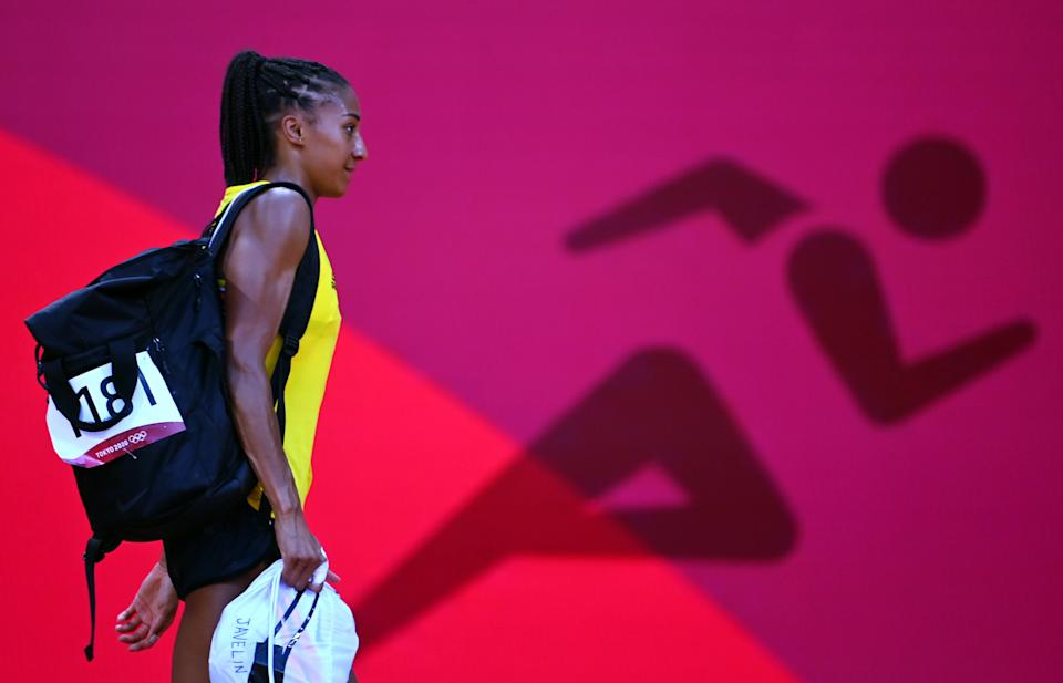 <p>Belgian Nafissatou Nafi Thiam pictured during the javelin throw contest, sixth event on the second day of the women's heptahlon event on day 14 of the 'Tokyo 2020 Olympic Games' in Tokyo, Japan on Thursday 05 August 2021. The postponed 2020 Summer Olympics are taking place from 23 July to 8 August 2021. BELGA PHOTO POOL VINCENT KALUT</p>