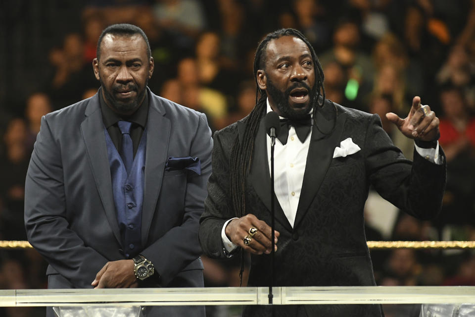 NEW YORK, NY - APRIL 6: Booker T and Stevie Ray Harlem Heat at the 2019 WWE Hall Of Fame Ceremony at the Barclay's Center in Brooklyn, New York City on April 6, 2019. Credit: George Napolitano/MediaPunch /IPX