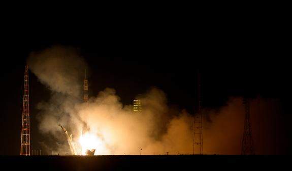 A Russian Soyuz rocket launches a Soyuz TMA-12M capsule carrying NASA astronaut Steve Swanson and cosmonauts Alexander Skvortsov and Oleg Artemyev toward the International Space Station on March 25, 2014 EDT from Baikonur Cosmodrome, Kazakhstan
