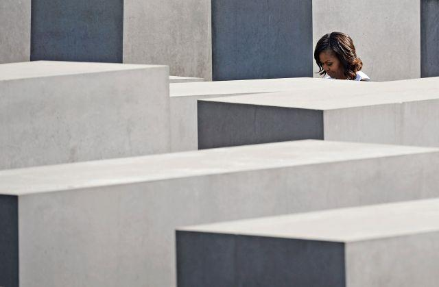 US first lady Michelle Obama visits the Holocaust Memorial in Berlin