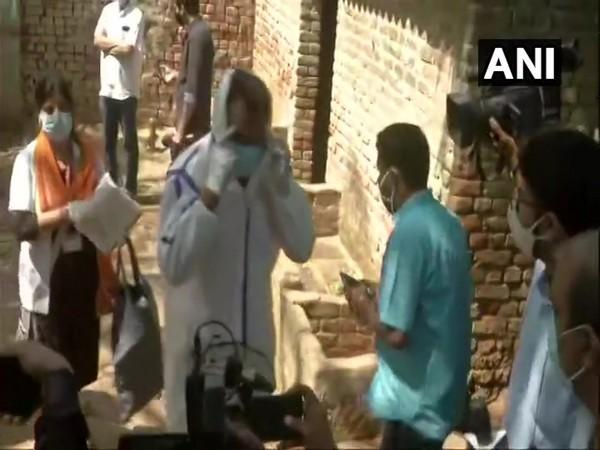 The medical team at the house of the Hathras victim on Sunday. (Photo/ANI)