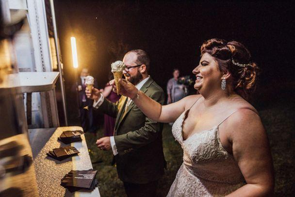 PHOTO: Rachel Borwegen and Andrew Jaworski wed in June 2020 in Belvidere, New Jersey. The party, photographed by Abigail Gingerale photography, was complete with taco truck offerings for supper and ice cream for dessert. (Abigail Gingerale Photography)