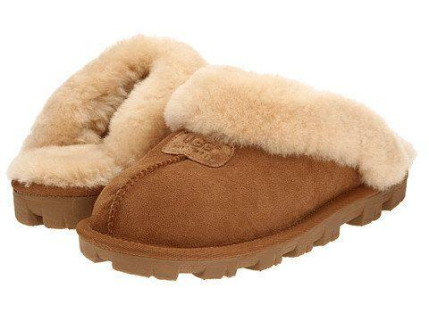 "Get these ridiculously comfy UGG slippers at <a href=""https://www.zappos.com/p/ugg-coquette-chestnut/product/7138704/color/278"" target=""_blank"">Zappos</a>."