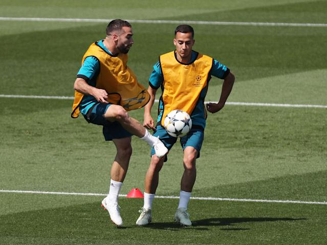 Soccer Football - Champions League - Real Madrid Training - Real Madrid City, Madrid, Spain - May 22, 2018 Real Madrid's Lucas Vazquez and Dani Carvajal during training REUTERS/Sergio Perez