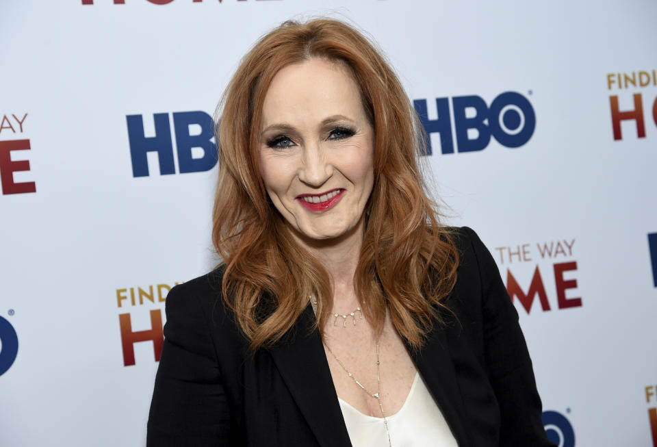 """Author and Lumos Foundation founder J.K. Rowling attends the HBO Documentary Films premiere of """"Finding the Way Home"""" at 30 Hudson Yards on Wednesday, Dec. 11, 2019, in New York. (Photo by Evan Agostini/Invision/AP)"""