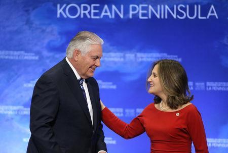 U.S. Secretary of State Rex Tillerson speaks with Canada's Minister of Foreign Affairs Chrystia Freeland during the Foreign Ministers' Meeting on Security and Stability on the Korean Peninsula in Vancouver, British Columbia, Canada, January 16, 2018. REUTERS/Ben Nelms