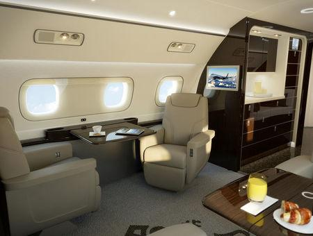 An interior view of the Kyoto Airship model of Embraer S.A. Aerospace company's executive jet lineage is shown in this undated photo provided October 11, 2017.  Courtesy Embraer S.A./Handout via REUTERS