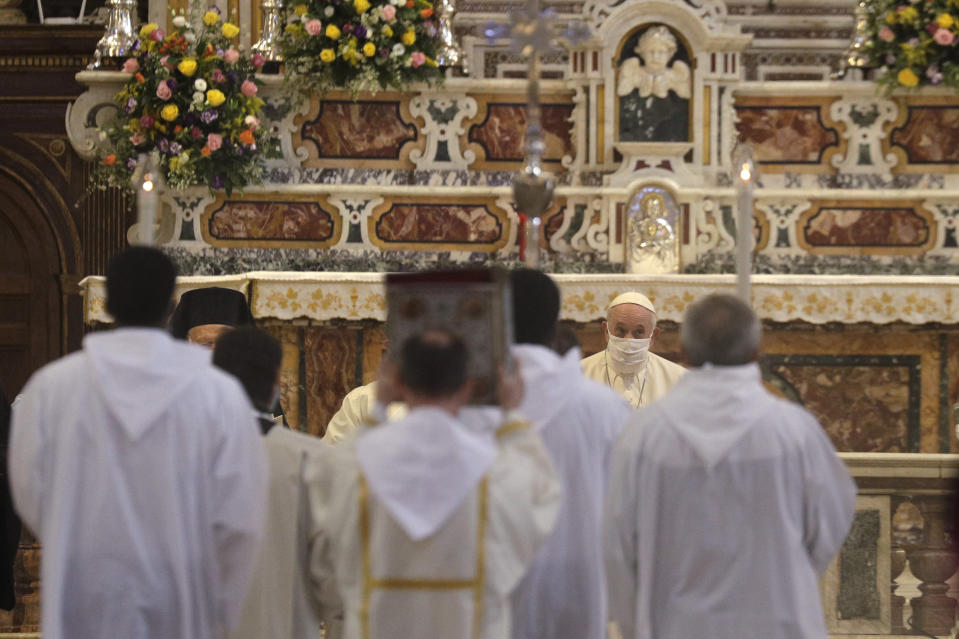 Pope Francis attends a inter-religious ceremony for peace in the Basilica of Santa Maria in Aracoeli, in Rome Tuesday, Oct. 20, 2020 (AP Photo/Gregorio Borgia)
