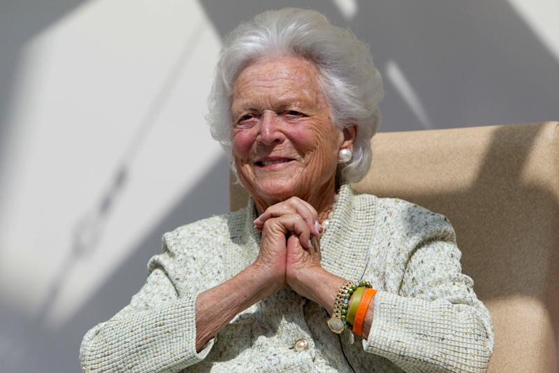On Aug. 22, 2013, former first lady Barbara Bush listens to a patient's question during a visit to the Barbara Bush Children's Hospital at Maine Medical Center in Portland, Maine. (AP Photo/Robert F. Bukaty, File) -- Wife of George H.W. Bush -- Mother of George W. Bush, Jeb Bush, Pauline Robinson Bush, Neil Bush, Marvin Bush, Dorothy Bush Koch