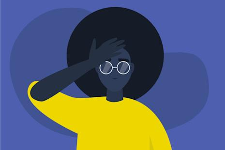 Facepalm gesture. Problem. Trouble. Young black female character with a hand palm on a forehead. Conceptual flat editable vector illustration, clip art