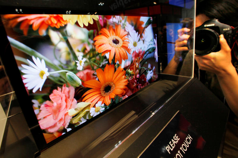 FILE - In this April 15, 2009 file photo, a photographer takes a photo of a clear image of flowers on a Sony Corp.'s 21-inch OLED, or organic light-emitting diode, display model shown for the first time in Japan at the 5th International Flat Panel Display Expo 'Display 2009' in Tokyo. Long-time Japanese rivals Sony and Panasonic Corp. are working together to develop next-generation TV panels called OLEDs in a reversal of decades of rivalry as they try to catch up with South Korea's Samsung Electronics. The companies said in a joint statement Monday, June 25, 2012, they will share core technologies to develop OLED panels. They are aiming for low-cost mass production by 2013. (AP Photo/Itsuo Inouye, File)