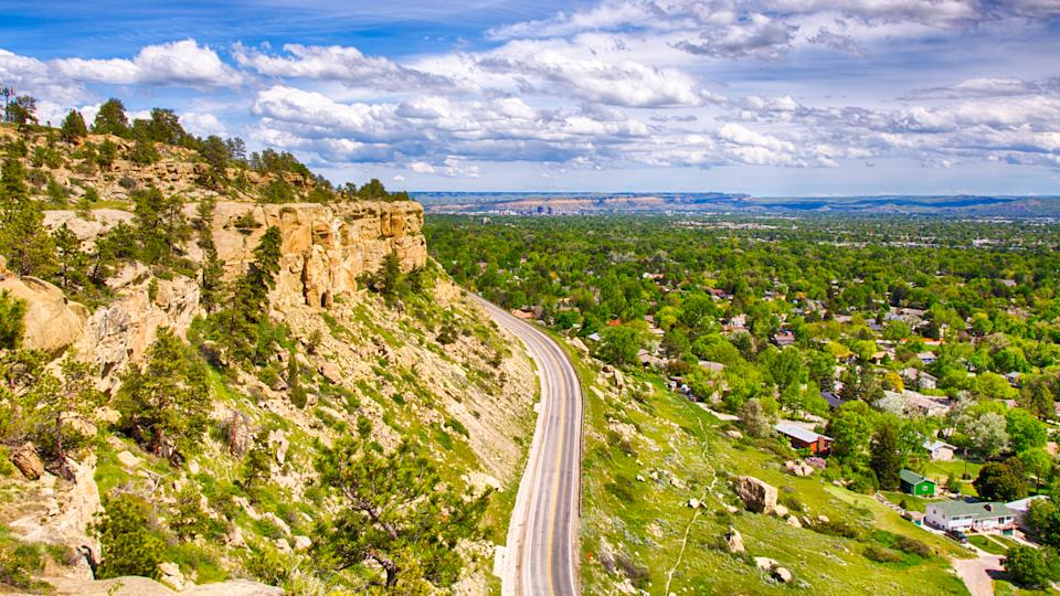Zimmerman trail as it winds up the rim rocks on the West end of Billings, Montana.