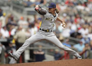 Milwaukee Brewers pitcher Josh Hader works against the Atlanta Braves during the ninth inning of a baseball game, Sunday, Aug. 1, 2021, in Atlanta. (AP Photo/Ben Margot)