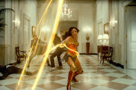 """This image released by Warner Bros. Entertainment shows Gal Gadot in a scene from """"Wonder Woman 1984."""" (Warner Bros. via AP)"""