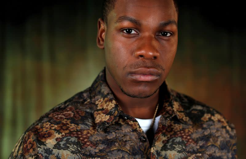 """FILE PHOTO: Cast member Boyega poses for a portrait while promoting the film """"Star Wars: The Rise of Skywalker"""" in Pasadena"""