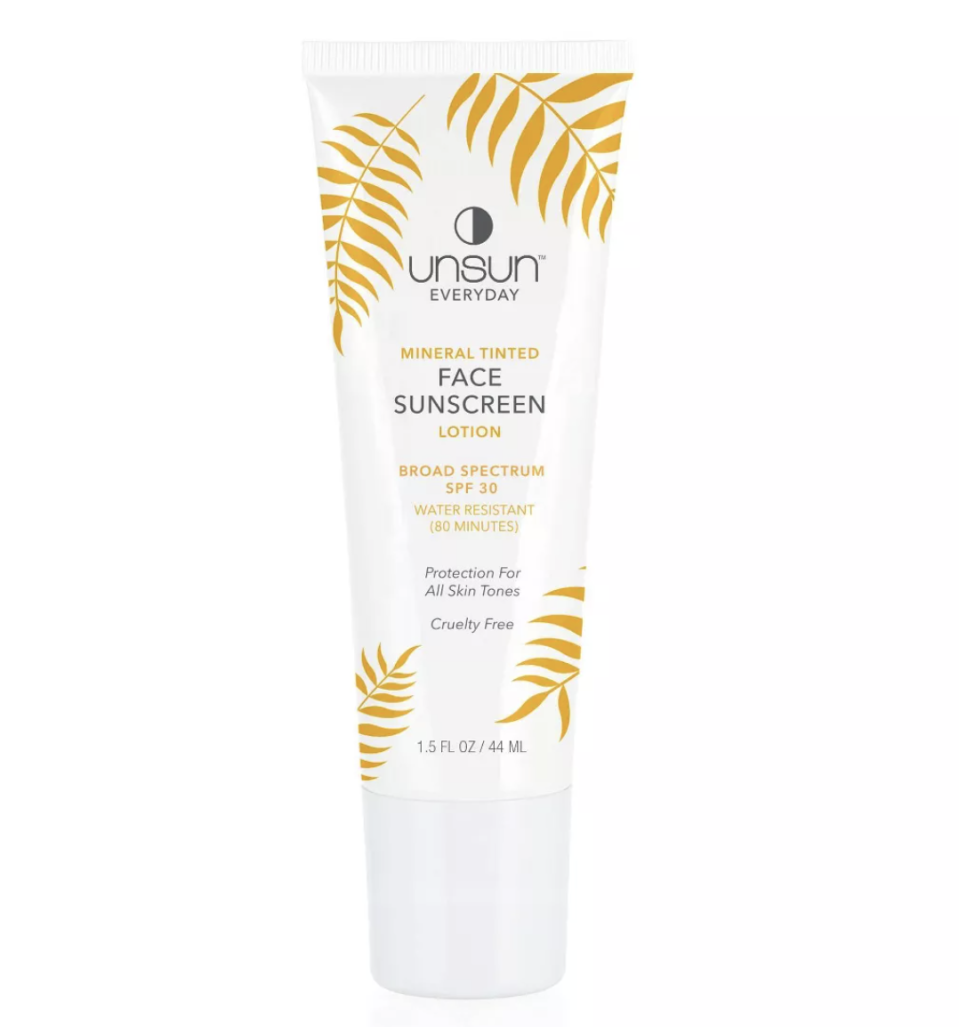 """<p><strong>Unsun Cosmetics</strong></p><p>target.com</p><p><strong>$15.99</strong></p><p><a href=""""https://www.target.com/p/unsun-cosmetics-mineral-tinted-face-sunscreen-lotion-spf-30-1-5-fl-oz/-/A-76165972"""" rel=""""nofollow noopener"""" target=""""_blank"""" data-ylk=""""slk:Shop Now"""" class=""""link rapid-noclick-resp"""">Shop Now</a></p><p>Frank Ocean's mom, Katonya Breaux, is the creator behind this skincare brand. And if you've ever Googled her, her skin is <em>luminous.</em> Made with PoC in mind, Katonya created this mineral sunscreen in two shades (fair/light and medium/dark) and can be used on all skin-tones. It's most esteemed quality amongst reviewers is that it leaves zero streaks behind.</p>"""