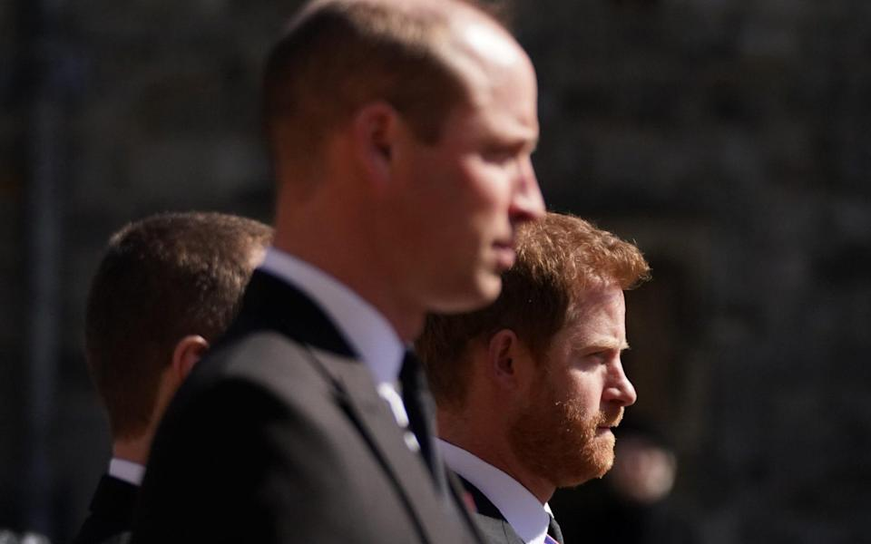 The Dukes of Cambridge and Sussex did not address each other during the procession, instead maintaining a dignified focus upon the coffin of their grandfather