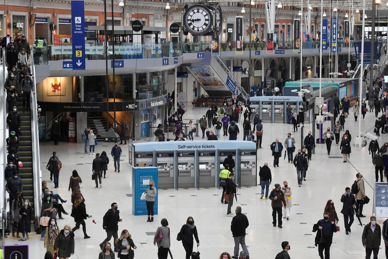 Workers travel on public transport as coronavirus disease (COVID-19) restrictions continue to ease in Britain, London