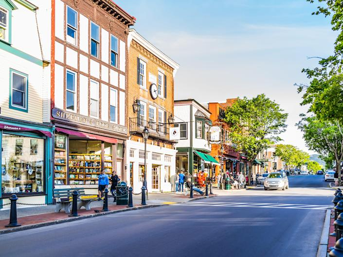 a quaint street with shops in Bar Harbor, Maine