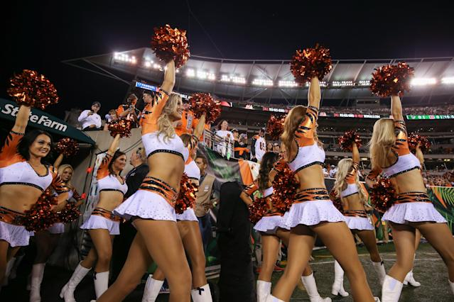<p>Cincinnati Bengals cheerleaders walk onto the field before the NFL game against the Houston Texans and the Cincinnati Bengals on September 14 2017, at Paul Brown Stadium in Cincinnati, OH. (Photo by Ian Johnson/Icon Sportswire via Getty Images) </p>