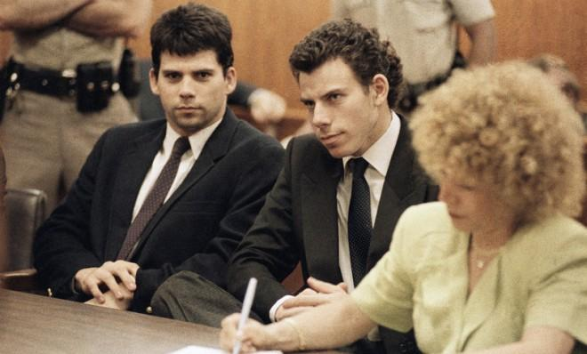 Lyle (left) and Erik Galen Menendez sit in a Beverly Hills, Calif., courtroom, May 14, 1990.