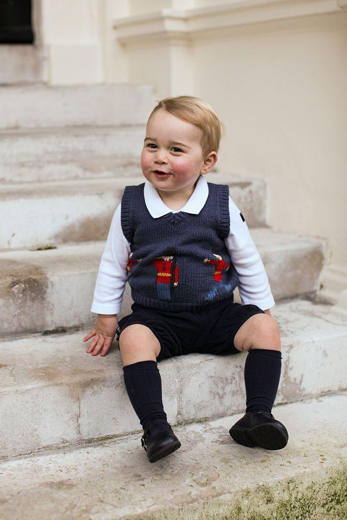 <p>Prince George's official Christmas portrait, complete with toy soldiers on his vest.</p>