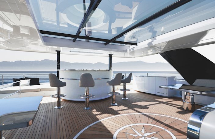 The 80 Sunreef's superstructure offers infinite options for a bespoke layout and décor.