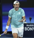 Italy's Matteo Berrettini reacts during his match against Russia's Daniil Medvedev in the ATP Cup final in Melbourne, Australia, Sunday, Feb. 7, 2021.(AP Photo/Hamish Blair)