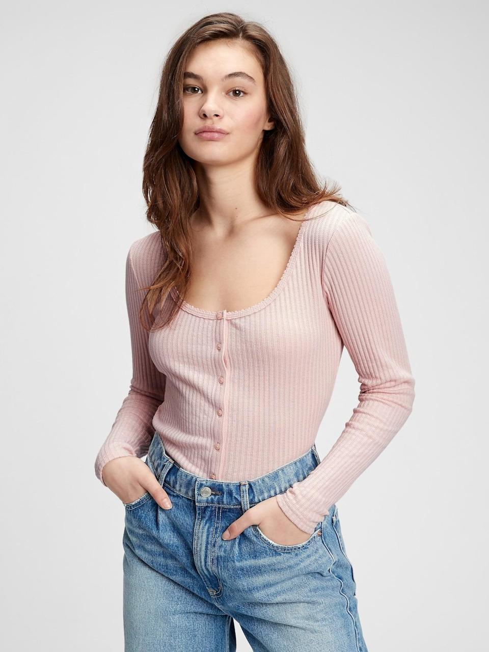 <p>I love this delicate <span>Gap Pointelle Button-Front T-Shirt</span> ($35, originally $45). I plan to wear it as my everyday long sleeve.</p>