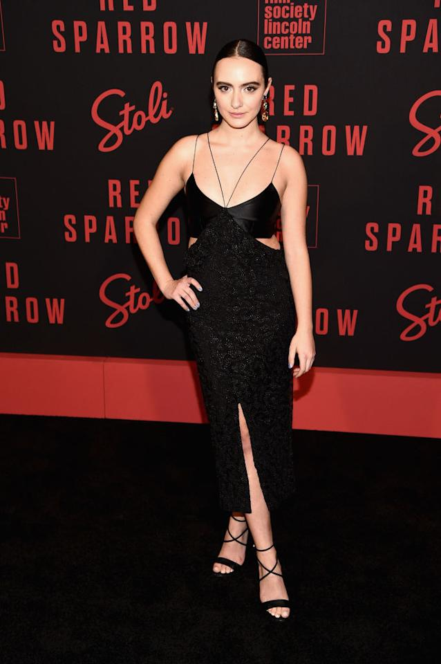 <p>Olivia Perez paired her cut-out in Markarian dress with strappy heels and statement earrings at the Red Sparrow premiere in New York. (Getty) </p>