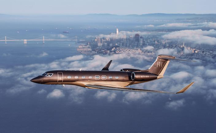 RH One, the brand's new private jet, in flight above San Francisco.