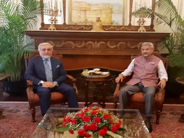 Dr Abdullah Abdullah, Chairman of the Afghanistan High Council for National Reconciliation, and External Affairs Minister S Jaishankar during the meeting on Friday. (Photo/Jaishankar on Twitter)
